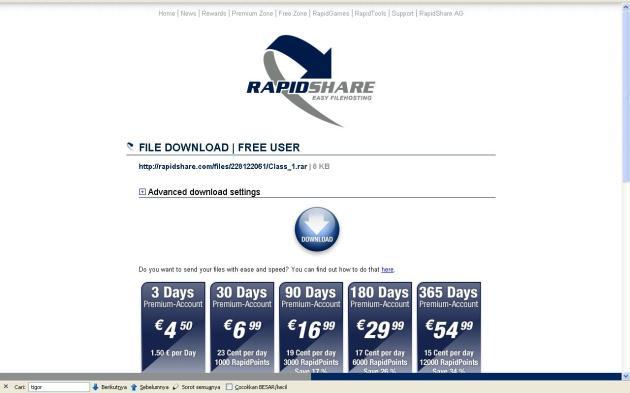 Tampilan Download Rapidshare